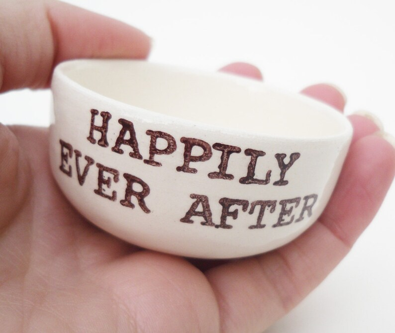 HAPPILY EVER AFTER white ceramic ring dish wedding engagement anniversary gift idea handmade wedding ring pillow handprinted jewelry dish