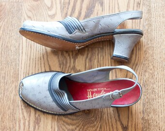585c7e7cb28b60 vintage 1940s gray ostrich peep toe pumps   40s Heydeys slingback peep toe  sandal heels   7 AA