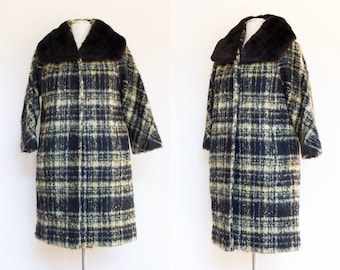 vintage 1960s Lilli Ann plaid mohair coat | 60s designer wool cocoon coat with mink collar | S - L