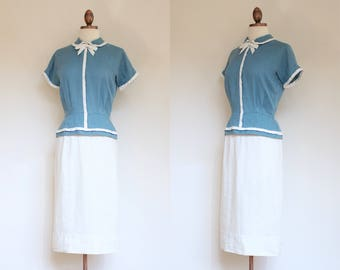 vintage 1950s blue and white peplum dress | 50s Harmay tailored linen blue and white afternoon dress | S