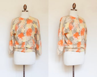 vintage 1960s yellow orange floral cardigan | 50s 60s by Darlene soft angora lambwool sweater | M