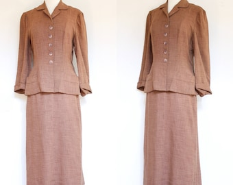 vintage 1940s brown linen blend suit | 40s Nan Buntley lightweight jacket and skirt set | S - M
