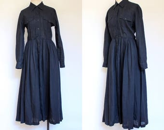 vintage 1980s 1990s DKNY black linen shirtdress | 80s 90s semi sheer long sleeved Donna Karan midi dress with buttons | S 6