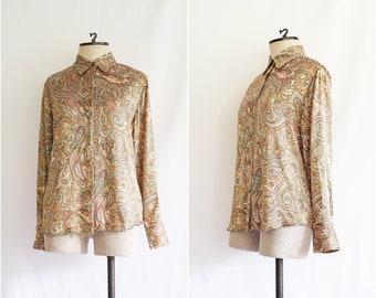 91822c66 vintage 1990s paisley satin blouse | 90s Anna & Frank warm-toned printed silk  shirt | M
