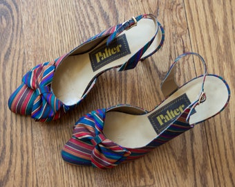 vintage 1970s colorful striped slingback pumps | 70s Palter multicolored striped silky heels | 7.5 B