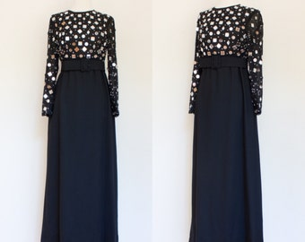 vintage 1970s black mirrored maxi dress / 70s chiffon and crepe black tie column dress / S