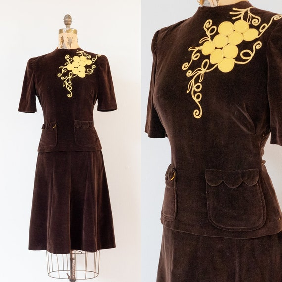 vintage 1940s brown velveteen skirt and top set |
