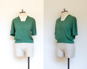 vintage 1960s green sweater with angora collar | 50s 60s Select Sportswear green and ivory short sleeved pullover | M