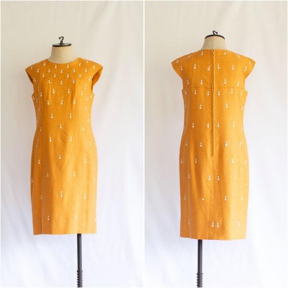 Vintage 1960s Terry-Allen marigold studded shift d