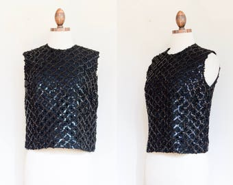 vintage 1960s sequined black wool shell party top | 60s sleeveless sparkly evening sweater | S