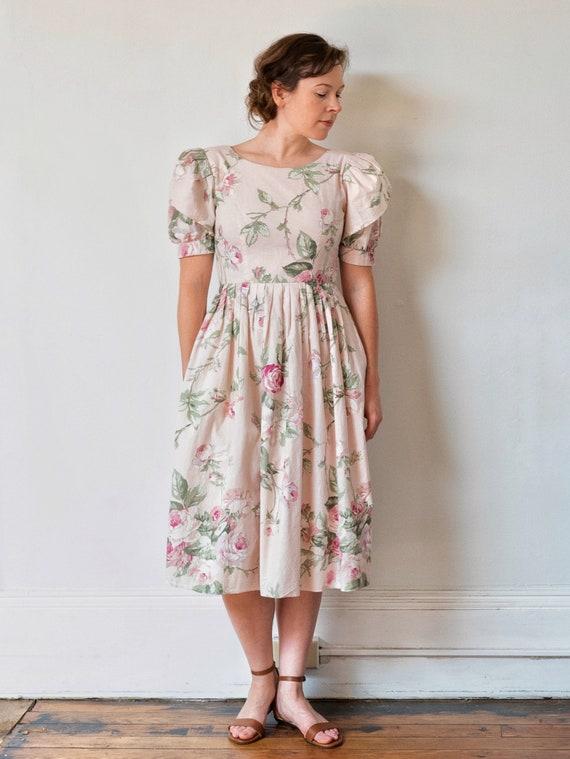 vintage 1980s puffed sleeve floral dress | 80s Lan