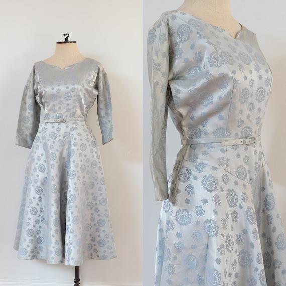 vintage 1950s ice blue brocade evening dress | 50s
