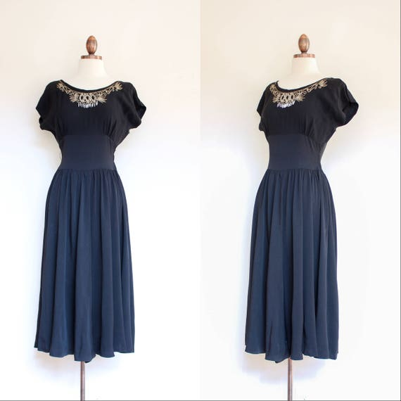 vintage 1940s 1950s black rayon dress with embelli