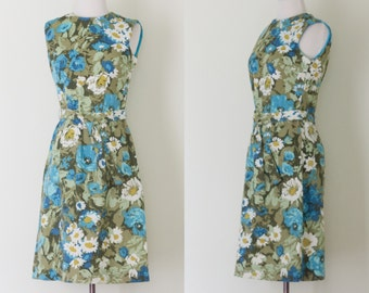 1960s floral broadcloth sleeveless sheath dress / vintage 60s floral A line dress with belt | S