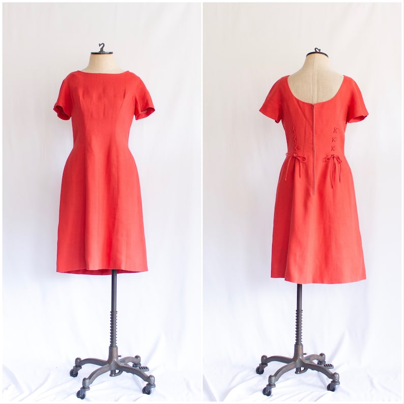 9566e8d2bab Vintage 1960s red linen shift dress 60s Hal Lewis lace up