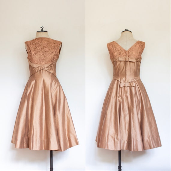 Vintage 1950s Copper Party Dress 50s Dupioni And Lace Full Etsy