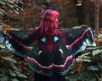 Cecropia Moth butterfly cape chiffon cloak dance wings costume short small fairy