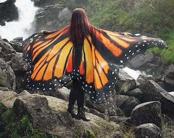 Butterfly wings Monarch cape costume adult Fairy wings chiffon belly dance cloak orange Festival Clothing