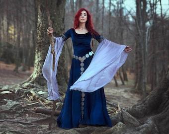 Medieval Dress, Blue Elven costume elf dark blue velvet and silver chiffon LUTHIEN preraphaelite gown