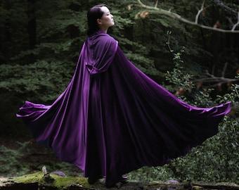 Purple velvet stretch Cloak Velvet Cape Costume Cape Fairytale Fantasy Cloak in violet Medieval