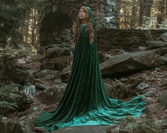 Elven cape Velvet Green hooded Cloak Fairy medieval Fantasy Medieval