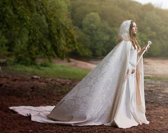 Bridal damasc cloak with hood long hooded cape