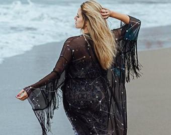 Constellations Kimono Robe Sylky Cardigan Beach cover up Bohemian Oversized Summer boho jacket inspirational womens gift dark academia witch