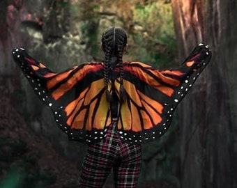 Butterfly wings monarch cape cloak wings costume short small fantasy halloween dance