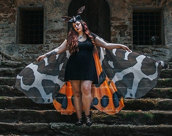 Moth wings costume  butterfly cape fairy wings festival clothing  burning man moth costume