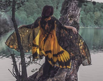 Acherontia moth wings butterfly cape Death's Head Moth cloak brown and yellow costume adult Festival Clothing