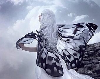 Black and White Butterfly Fantasy cape monarch vegan silk chiffon cloak dance wings costume short small bride wedding gothic lolita