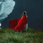 Red vegan wool cloth Cape Hooded Cloak Riding Hood cloak with train very long