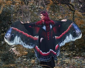 Moth wings butterfly cape fairy cloak red and black costume adult bridal fairy handfasting