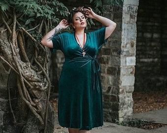 Velvet dress Wrap dress green velvet long gown vintage Dress Occasion Spring Dress