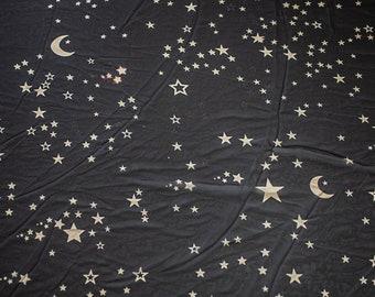 Moon and Stars Fabric - Chiffon Blue and black horoscope fabric - gauze translucent elegant