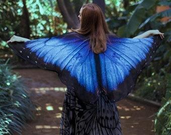 Blue Morpho Butterfly cape wings - Butterfly Wings Blue Morpho scarf Festival Clothing