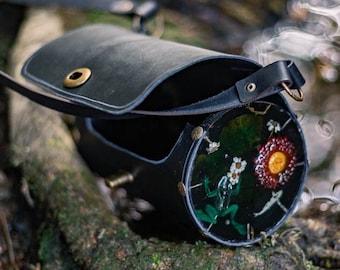 Frog Pond bag witch inspired forest handbag shoulder bag magic leather and resin