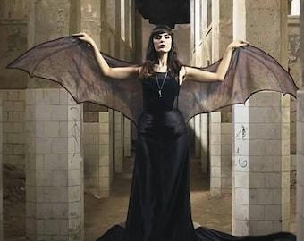 Bat wings dragon demon cape Halloween costume adult goth Fairy cape belly dance cloak gothic wicca dark