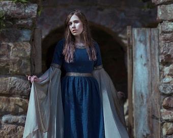 Blue Medieval Dress Celtic gown elven dress long sleeves