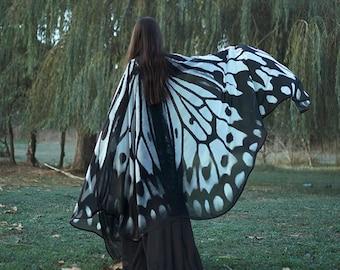 Butterfly wings Nymph cape wedding White and black cape Fantasy  vegan silk chiffon cloak dance wings costume bride wedding gothic lolita