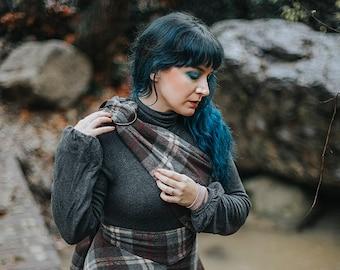 Tartan Fly Plaid with fibula  Outlander scarf inspired  historical scottish