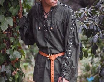 Men shirt Renaissance peasant Cotton Shirt - Steampunk Pirate Fantasy Medieval Renaissance Costume Cosplay