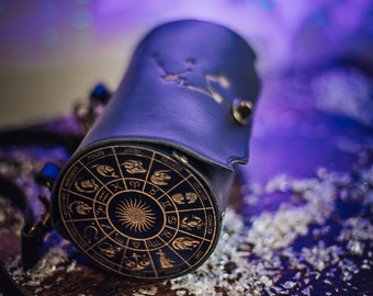 Zodiac bag astrology and constelations witch inspired handbag shoulder bag magic leather and resin