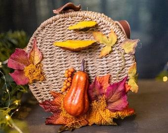 Autumn bag wood and leather mushrooms and pumpkin vintage  basket inspired handbag cottagecore