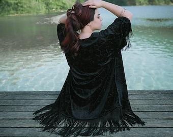Black Velvet Kimono Boho dark Gypsy Women Boho Fringe Jacket burnout flower back to black dark academia witch