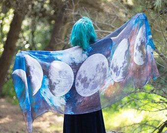 Moon Phases scarf nocturnal celestial nature bohemian dancing foulard pashmina green foulard gift