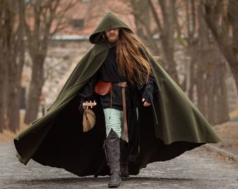 Green Vegan Wool Druid Cape Hooded Cloak Elven Costume cloth Hood cloak with train very long