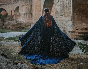 Cloak Burnout Velvet Dark Blue Cape Fairytale Fantasy Witch hood Elven Druid Handfasting