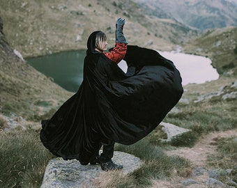 Black Cape stretch Velvet Costume Cape Fairytale Fantasy Cloak druid witch wicca medieval