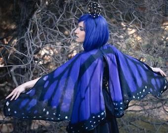 Blue Butterfly cape monarch cloak dance wings costume short small gothic lolita